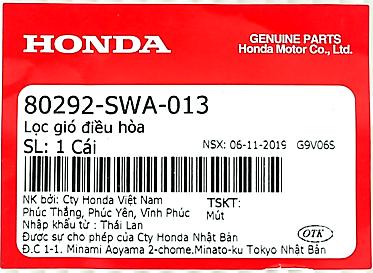 Tem phụ tùng tại Honda Oto Mỹ ĐÌnh