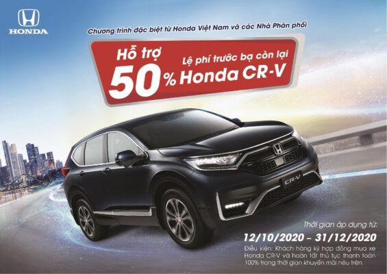 Honda Mỹ Đình hỗ trợ 1 nửa coi như Honda CR-V giảm Thuế Trước Bạ 100% thời điểm từ giờ đến cưới năm